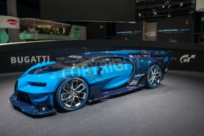 Wall mural FRANKFURT, GERMANY - SEPTEMBER 16, 2015: Frankfurt international motor show (IAA) 2015. Bugatti Vision Gran Turismo - world premiere.