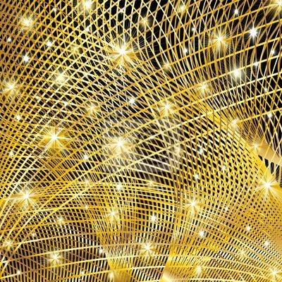 Frattale Oro Sfondo Brillante-Golden Fractal Background-Vector