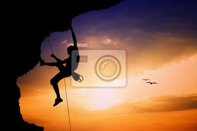 Free climbimg at sunset