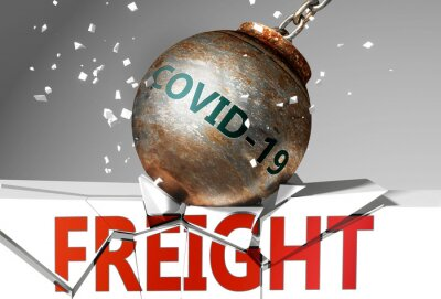 Wall mural Freight and coronavirus, symbolized by the virus destroying word Freight to picture that covid-19  affects Freight and leads to a crash and crisis, 3d illustration