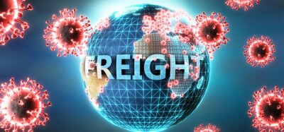 Wall mural Freight and covid virus, symbolized by viruses and word Freight to symbolize that corona virus have gobal negative impact on  Freight or can cause it, 3d illustration