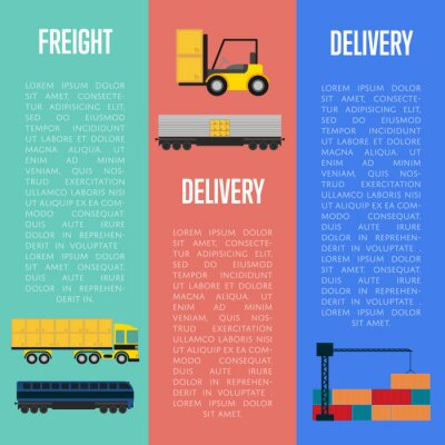 Wall mural Freight and delivery flyers set isolated vector illustration. Transportation templates with cargo crane, freight container truck and forklift truck with boxes. Delivery company business concept
