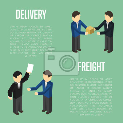 Wall mural Freight delivery isometric banner with people vector illustration. Cooperating delivery managers, teamwork concept. Freight delivery and distribution, warehouse logistics management, cargo shipping