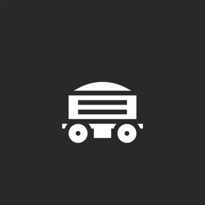 Wall mural freight icon. Filled freight icon for website design and mobile, app development. freight icon from filled industry collection isolated on black background.