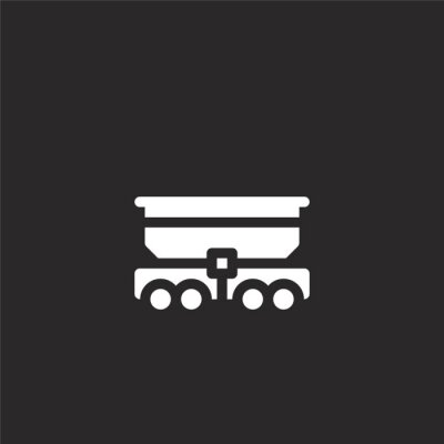 Wall mural freight icon. Filled freight icon for website design and mobile, app development. freight icon from filled transport collection isolated on black background.