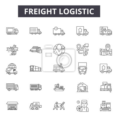 Wall mural Freight logistic line icons, signs set, vector. Freight logistic outline concept illustration: shipping,delivery,freight,box,truck,ship,cargo,transportation,export