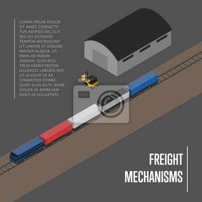 Wall mural Freight mechanisms isometric banner vector illustration. Forklift truck loading freight train on railway warehouse terminal. Shipment logistics, delivery transportation service, freight storage