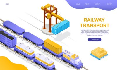 Wall mural Freight rail transport concept. Freight wagons, cisterns and containers stand on loading or unloading at a freight station with a crane girder. Isometric cartoon vector illustration. Website template.