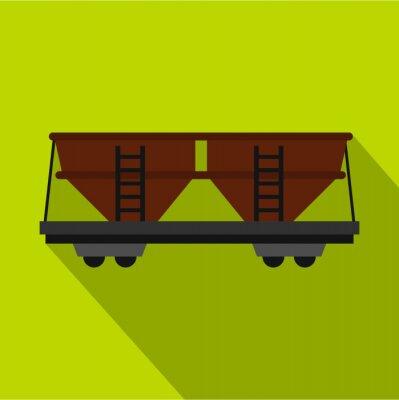 Wall mural Freight railroad car icon. Flat illustration of freight railroad car vector icon for web design