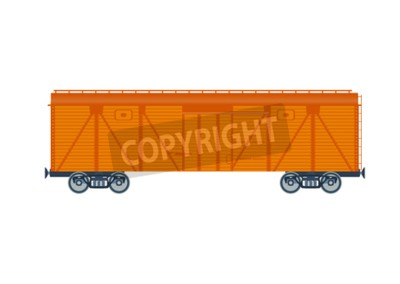 Wall mural Freight railroad car. isolated on white background. Freight railroad car. illustration. Freight railroad car.Wooden boxcar isolated vector