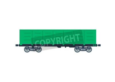 Wall mural Freight railroad car. The type of freight car a boxcar. Green boxcar. Boxcar vector isolated. Freight railroad vector isolated.