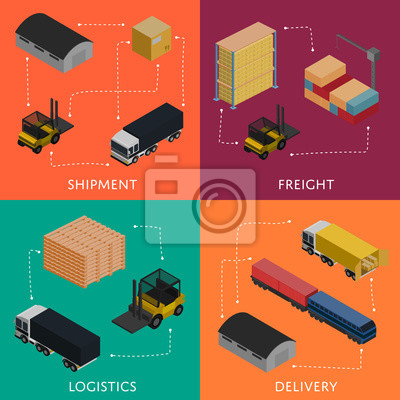 Wall mural Freight shipment and delivery logistics isometric banners vector illustration. Forklift loading freight truck, warehouse building, cargo train icons. Global delivery transportation, shipping service