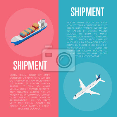 Wall mural Freight shipment banners isometric vector illustration. Cargo jet airplane and freight vessel round icon. Worldwide logistics, delivery transportation, global commercial airlines, maritime shipping