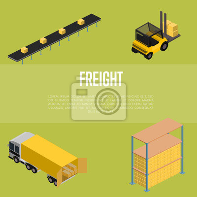 Wall mural Freight storage isometric vector illustration. Forklift truck with packing boxes, warehouse terminal, truck loading process icons. Freight transportation, cargo shipment, distribution warehouse