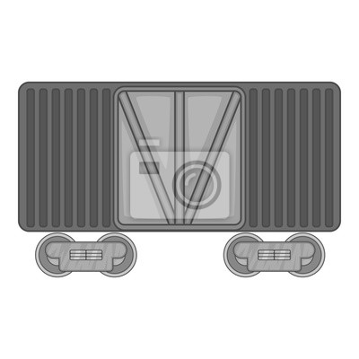 Wall mural Freight train icon in black monochrome style isolated on white background. Freight symbol vector illustration