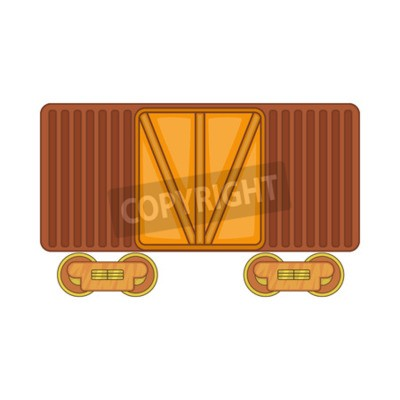 Wall mural Freight train icon in cartoon style isolated on white background. Freight symbol