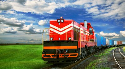 Wall mural freight train with space for text