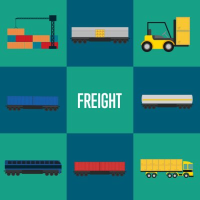 Wall mural Freight transportation icon set vector illustration. Cargo crane loading container, forklift with packing boxes, cargo train, freight container truck icons. Warehouse logistics and delivery business
