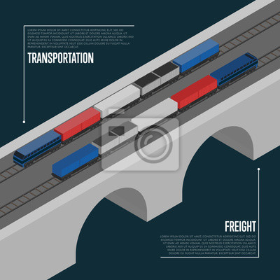 Wall mural Freight transportation isometric banner vector illustration. Freight train on railway bridge. Cargo shipment process, logistics and distribution, freight service, transportation business concept