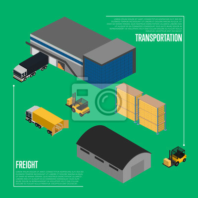Wall mural Freight transportation isometric vector illustration. Forklift with packing boxes loading freight truck near warehouse. Local delivery service and distribution business, freight shipping concept