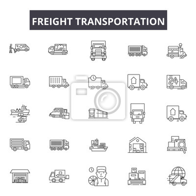 Wall mural Freight transportation line icons, signs set, vector. Freight transportation outline concept illustration: transport,transportation,delivery,freight,truck,ship,shipping,train