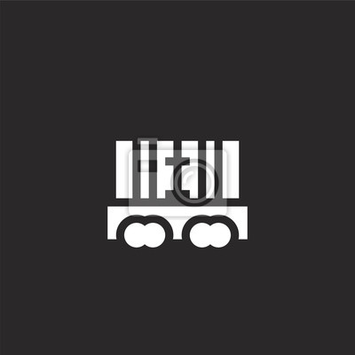 Wall mural freight wagon icon. Filled freight wagon icon for website design and mobile, app development. freight wagon icon from filled logistics collection isolated on black background.