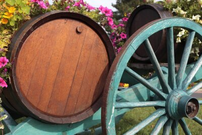 Wall mural French wine village vineyard wine barrels and cart.