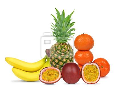 Fresh fruits isolated on white background