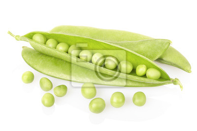 Wall mural Fresh green peas on white, clipping path included