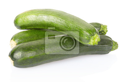 Wall mural Fresh green zucchini on white, clipping path included