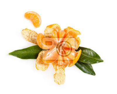 Fresh juicy mandarin isolated on white background.