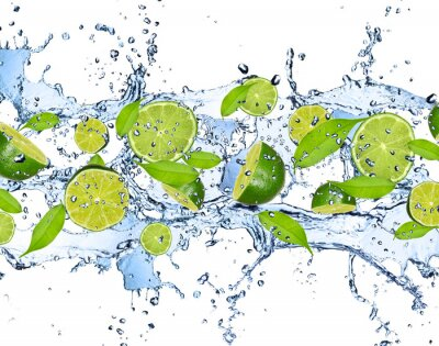 Wall mural Fresh limes in water splash,isolated on white background