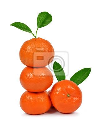 Fresh mandarines with green leaf isolated on white background