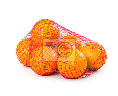 Fresh oranges in mesh sack