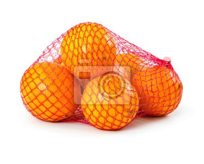 Fresh oranges in plastic mesh sack