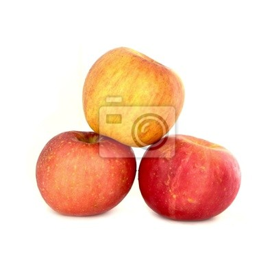 Fresh ripe red and yellow apples on white background