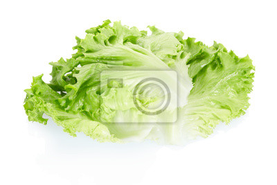 Wall mural Fresh salad leaves on white, clipping path included