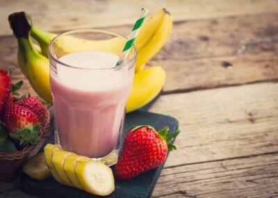 Wall mural Fresh strawberry and banana smoothie
