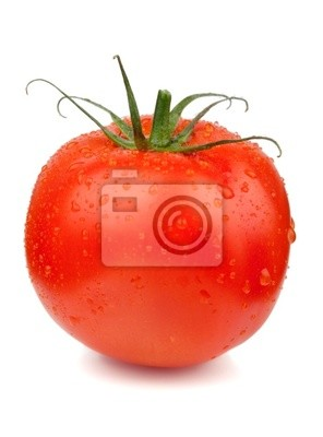 Fresh tomato with water drops