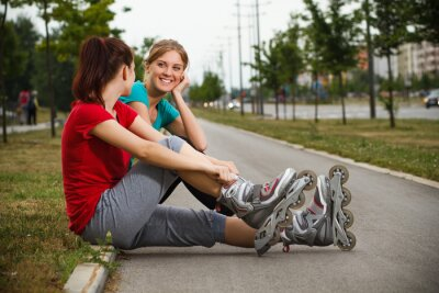 Wall mural Friends resting after exercise
