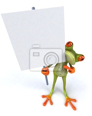 Frog with a blank sign