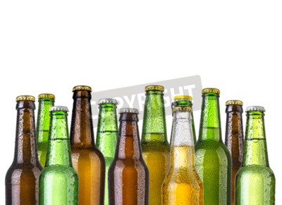 Wall mural Frosty bottles of beer isolated on a white background