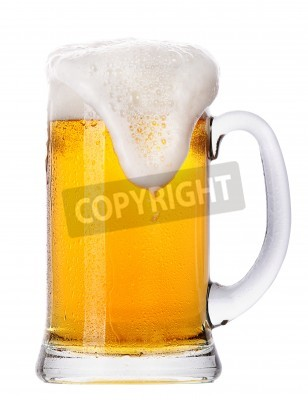 Wall mural Frosty glass of light beer set isolated on a white background