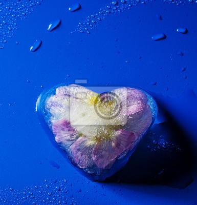 frozen flower inside ice heart