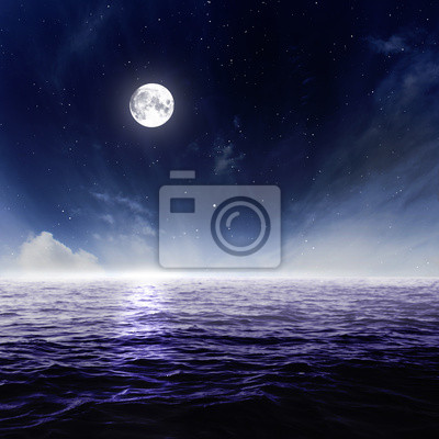 Wall mural Full moon in night sky over moonlit water
