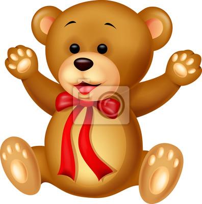 Funny baby bear cartoon waving