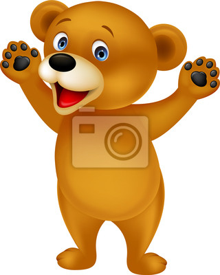 Wall mural Funny baby brown bear cartoon