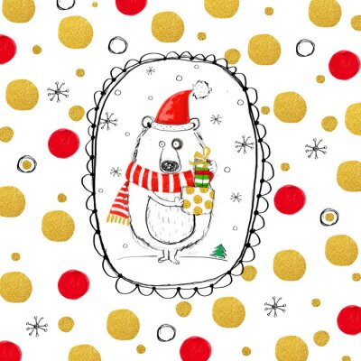 Funny  bear with Christmas gifts in the Santa hat.  Happy New Year greeting card.