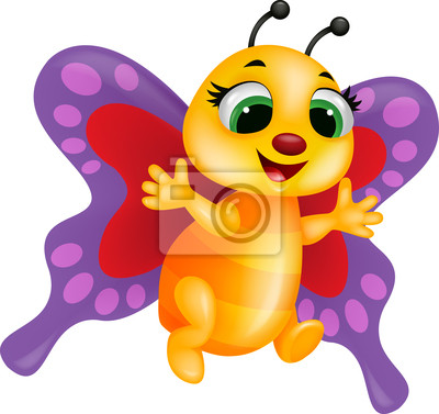 Wall mural Funny butterfly cartoon