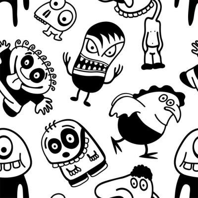Wall mural Funny cartoon characters seamless pattern.